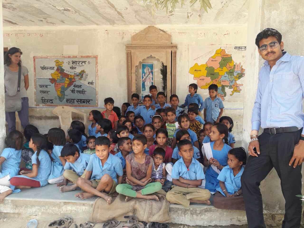 Hari visiting the children at school